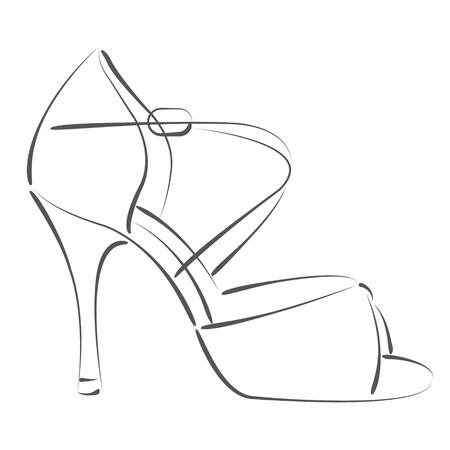 Elegant Sketched Woman\'s Shoe. Salsa Dance Shoes. Design Template ...