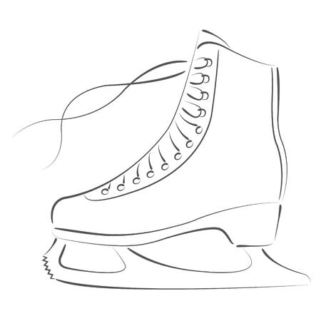 elegant sketched ice skates design template for label banner