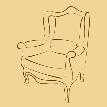 harmonic: Elegant sketched armchair. Harmonic colors. Background can be easily removed. Design template for label, banner, badge or logo. Vector. Illustration