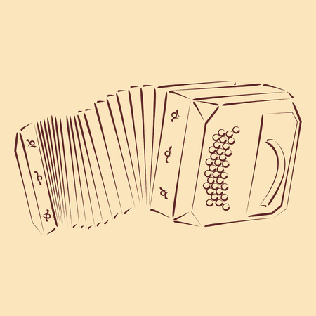 bandoneon: Sketched bandoneon concertina. Harmonic colors. Background can be easily removed. Design template for label, banner, postcard. Vector.