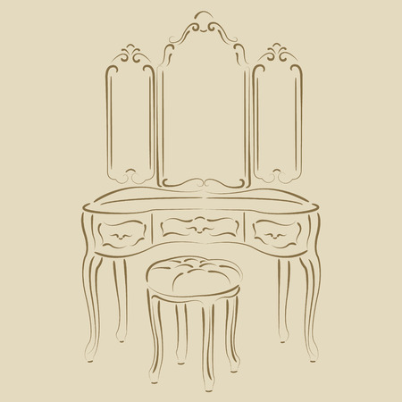 padded stool: Sketched retro dressing console, pier-glass, dressing table. Harmonic colors. Background can be easily removed. Design template for label, banner or postcard. Vector. Illustration