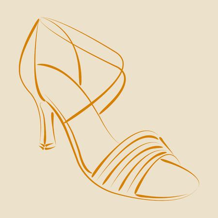 salsa dance: Elegant sketched woman s shoe. Salsa dance shoes. Background can be easily removed. Design template for label, banner, postcard or logo. Vector. Illustration