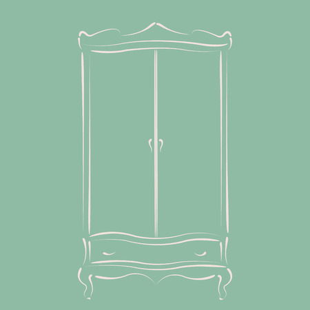 auctioning: Sketched vintage wardrobe. Harmonic colors. Background can be easily removed. Design template for label, banner, postcard. Vector.
