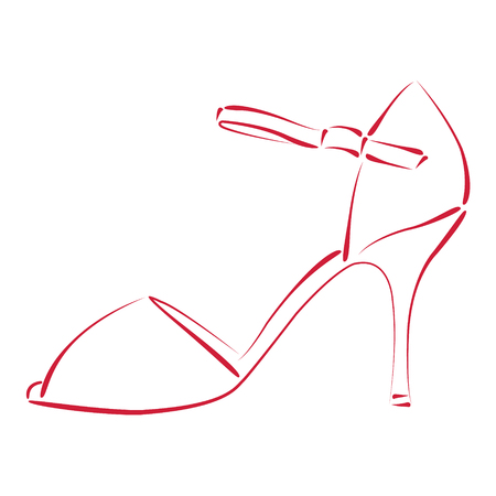 tango dance: Elegant sketched woman s shoe. Argentine tango dance shoes. Background can be easily removed. Design template for label, banner, postcard, logo. Vector. Illustration