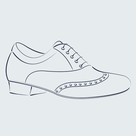 tango dance: Elegant sketched man s shoe. Argentine tango dance shoes. Harmonic colors. Background can be easily removed. Design template for label, banner, postcard, logo. Vector.