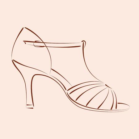 Zapato de la mujer dibujada elegante s. Zapatos de baile de Salsa. El fondo se puede quitar fácilmente. Plantilla de diseño de la etiqueta, bandera, postal o logotipo. Vector.