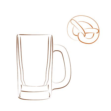 bretzel: Sketched beer mug and bretzel isolated on white background. Design template for label, banner, postcard or logo. Vector.