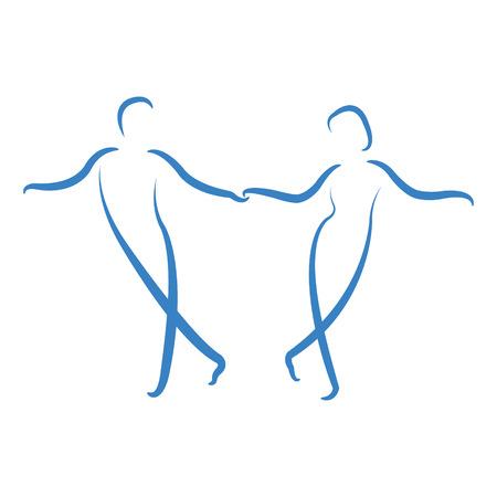 춤 부부 로고는 흰색 배경에 고립입니다. 스윙 댄스. 라벨, 배너 또는 엽서 디자인 템플릿입니다. 벡터. 일러스트