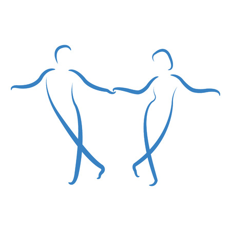 columpios: Pares del baile logotipo aislado en fondo blanco. Baile con ritmo. Plantilla de diseño de etiqueta, banner o postal. Vector.