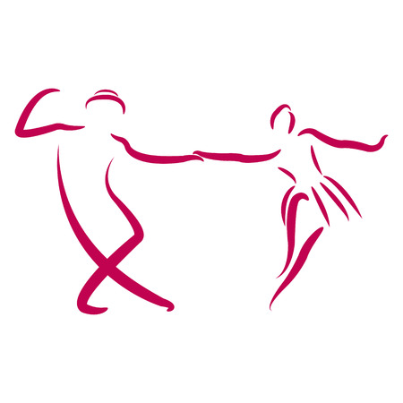 カップルは、白い背景で隔離のスイング ダンスを踊るします。スケッチのダンサー。ラベル、バナーまたははがきのデザイン テンプレートです。ベ