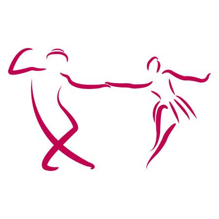 Paar dansen swing dans op een witte achtergrond. Geschetste dansers. Ontwerp sjabloon voor label, banner of briefkaart. Vector.