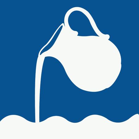 mleka: Logo mleka w kolorze niebieskim i białym. Wylewanie mleka z dzbanka. Wektor.