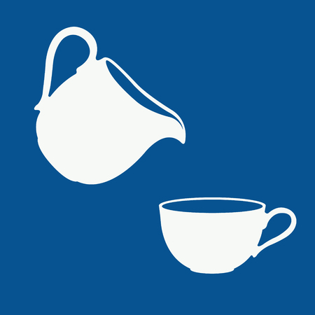 pitcher: Milk logo in a blue and white. Milk pouring from a pitcher into a cup. Vector.