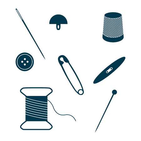 needlework: Set of sewing and needlework icons isolated on white background. Collection of design elements. Vector illustration.