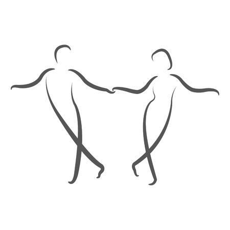 Dancing couple logo. Swing dance. Design template for label, banner or postcard. Raster illustration.