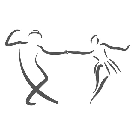 social movement: Couple dancing swing dance. Sketched dancers. Design template for label, banner or postcard. Raster illustration.