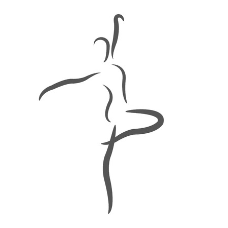 Sketched dancing woman. Design template for label, banner or postcard. Raster illustration.