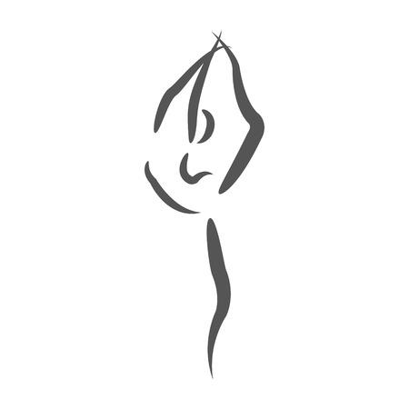 Sketched dancing woman. Design template for label, banner or postcard. Raster illustration.