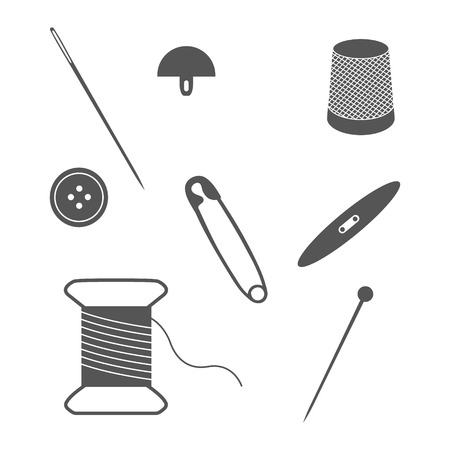 needlework: Set of sewing and needlework icons. Collection of design elements. Raster illustration.
