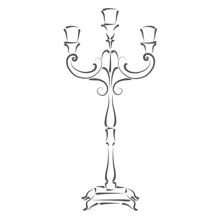 candle holder: Sketched candle holder. Design template for label, banner or postcard. Raster illustration. Stock Photo