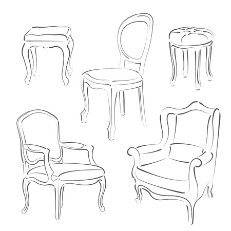 Set of elegant sketched armchairs and chairs. Harmonic colors. Background can be easily removed.