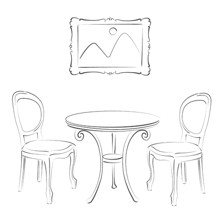 harmonic: Sketched chairs, table and picture frame. Cafe interior. Harmonic colors. Background can be easily removed.