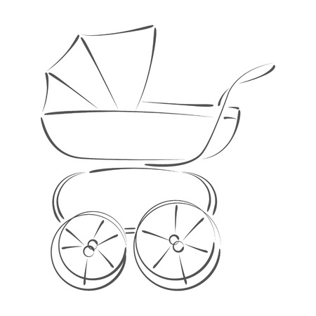 Sketched Baby Stroller. Design Template For Label, Banner Or.. Stock ...