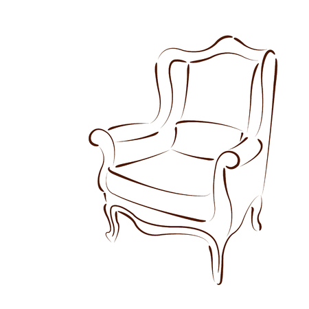 armchair: Elegant sketched armchair isolated on white background. Design template for label, badge or logo. Vector.