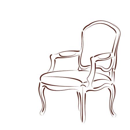 白い背景に分離されたエレガントなスケッチの肘掛け椅子。ラベル、バッジまたはロゴのデザイン テンプレートです。ベクトル。