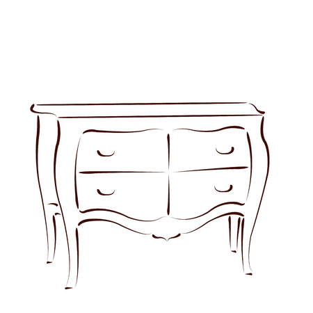 drawers: Sketched chest of drawers isolated on white background. Design template for label, banner orpostcard. Vector. Illustration