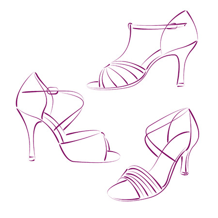 salsa dance: Set of elegant sketched woman s shoes isolated on white background. Salsa dance shoes. Vector.
