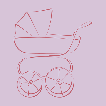 harmonic: Sketched baby stroller buggy. Harmonic colors. Background can be easily removed. Vector.
