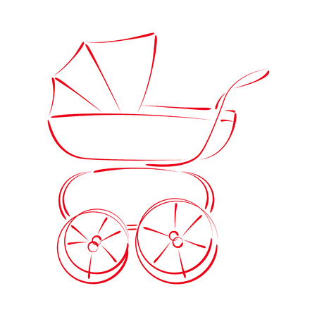 buggy: Sketched baby stroller buggy isolated on white background. Design template for label, banner or postcard. Vector. Illustration