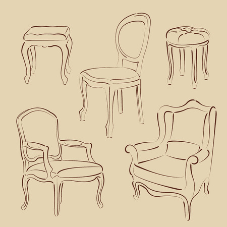 armchairs: Set of elegant sketched armchairs and chairs. Harmonic colors. Background can be easily removed.