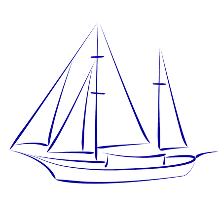 yacht isolated: Elegant sketched yacht isolated on white background. Design template for label, postcard or logo. Vector.