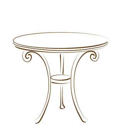 antique table: Elegant sketched table isolated on white background. Design template for label, banner or postcard. Vector.