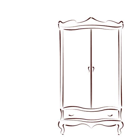 스케치 된 빈티지 옷장 흰색 배경에 고립입니다. 레이블, 배너 또는 엽서 디자인 서식 파일입니다. 벡터.
