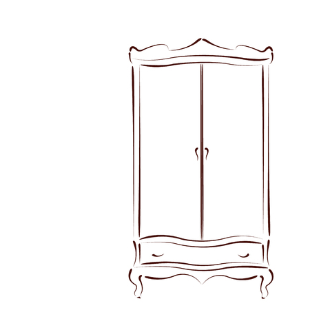 Sketched vintage wardrobe isolated on white background. Design template for label, banner or postcard. Vector. Çizim