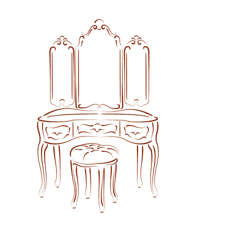 padded stool: Sketched retro dressing console, pier-glass, dressing table isolated on white background. Design template for label or postcard. Vector.