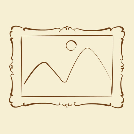 harmonic: Elegant sketched picture frame. Harmonic colors. Background can be easily removed. Design template for label, banner, badge, logo. Vector. Illustration
