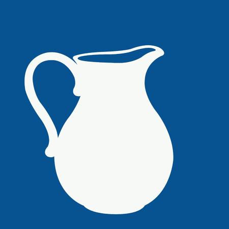 leche: Logotipo de la leche en un azul y blanco. Jarra de leche. Plantilla de dise�o de la etiqueta, bandera, insignia, logotipo. Vector.