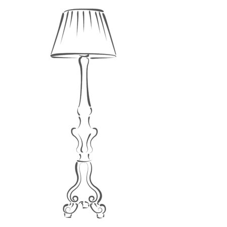 floor lamp: Sketched floor lamp isolated on white background. Design template for label, banner or postcard. Stock Photo