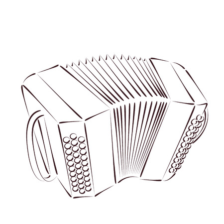 milonga: Sketched bandoneon concertina isolated on white background. Design template for label, banner or postcard. Vector.