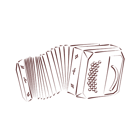 Sketched bandoneon concertina isolated on white background. Design template for label, banner or postcard. Vector.
