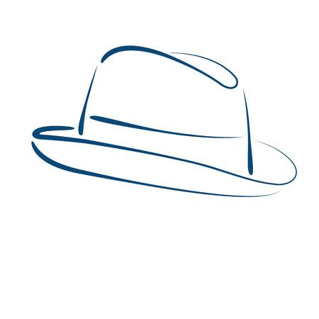 Geschetste man s fedora trilby hoed op een witte achtergrond. Ontwerp sjabloon voor label, banner, kenteken of logo. Vector.
