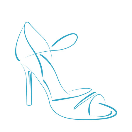 milonga: Elegant sketched woman s shoe isolated on white background. Argentine tango dance shoes. Design template for label, banner, postcard, logo. Vector.
