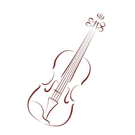 fiddles: Elegant sketched violin isolated on white background. Design template for label, postcard or logo. Vector.