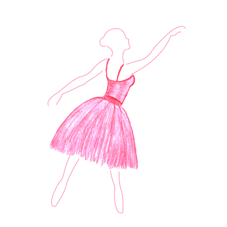 rehearsal: Watercolor dancing girl in pink dress made in vector isolated on white background.