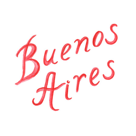 aires: Hand-drawn watercolor red letters isolated on white background. Buenos Aires lettering. Vector.
