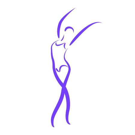 스케치 춤 여자는 흰색 배경에 고립입니다. 라벨, 배너 또는 엽서 디자인 템플릿입니다. 벡터.
